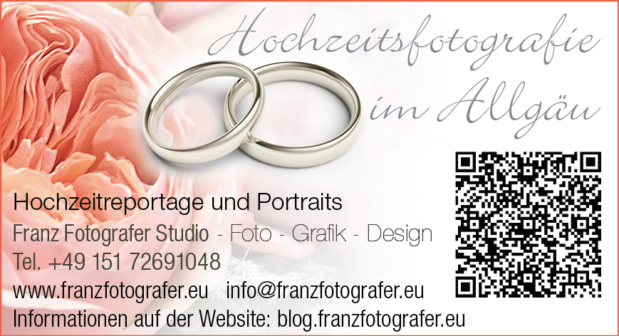 Hochzeitsfotografie, Hochzeitsfotos und Fotoreportagen professionelle Hochzeitsfotografen von Franz Fotografer Team für Ihre Hochzeit im Allgäu Franz Fotografer Studio Kontakt